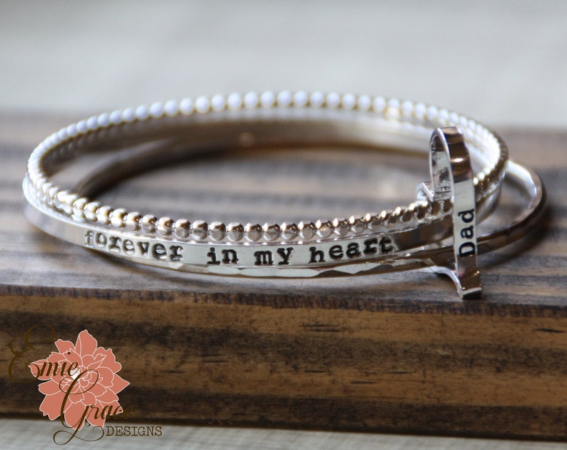 Hand Stamped Name and Message Personalized Bracelet Set Set of Three Sterling Silver Bangles with Heart