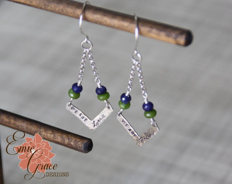 READY TO SHIP Loud /& Proud Hammered Seattle Seahawks Chevron Earrings Sapphire and Peridot Sterling Silver