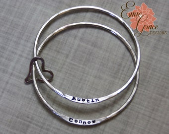Two Sterling Silver Bangles & Heart, Yellow or Rose Gold Filled or Solid 14K Gold or Silver Heart, Mothers Bracelet Set, Hand Stamped Names