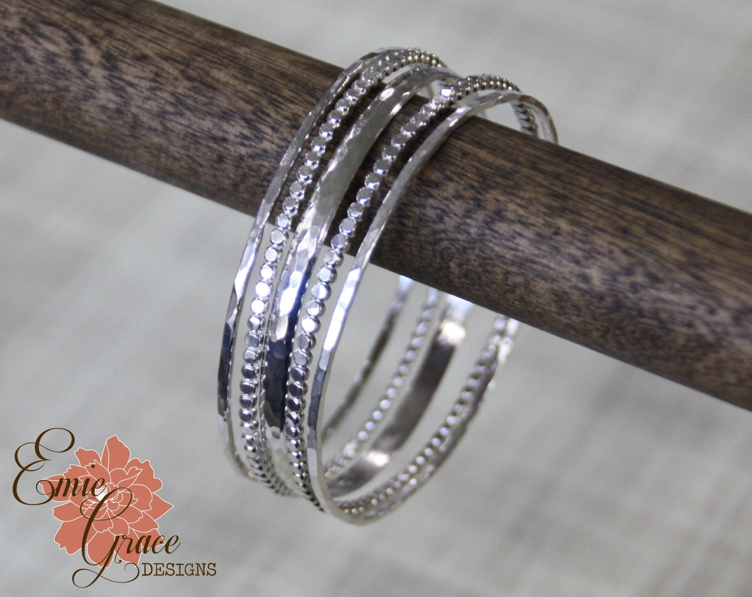 Sterling Hammered Bangle Set Skinny Stacking Bracelets