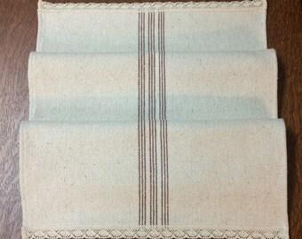 Table Runner - Burgundy Striped Grain Sack Fabric