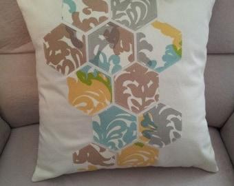 """Pillow Cover - 16"""" x 16"""" Hexagon Applique"""