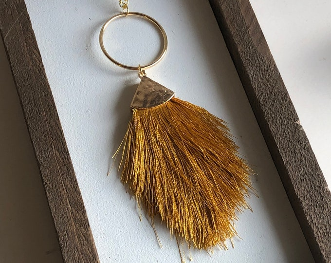 Felicity Fringe Necklace in Mustard