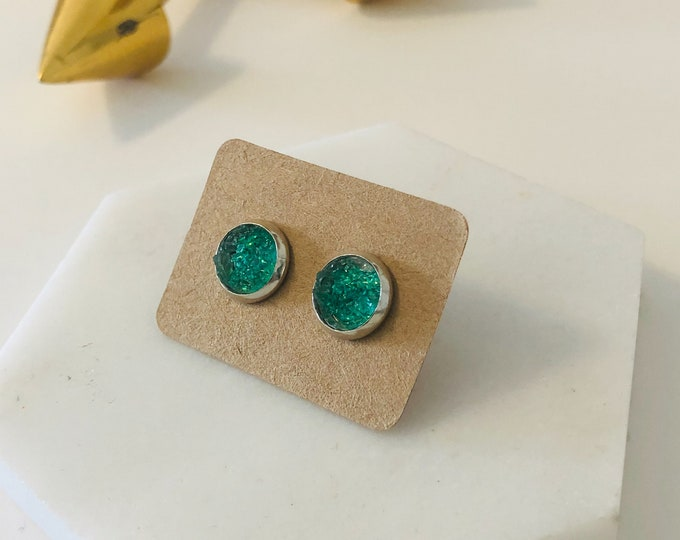 Zola Studs in Teal