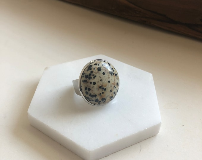 Silas Dalmatian Quartz Ring