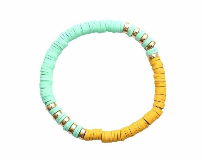 Mint/Mustard Clay Bead Bracelet(s)