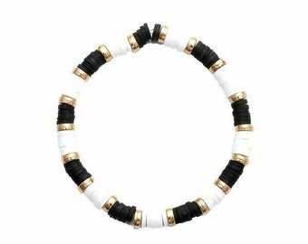 Black and White Clay Bead Bracelet(s)