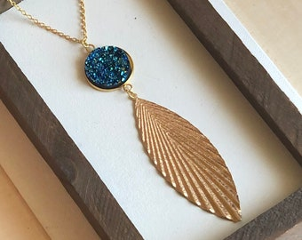 Druzy and Leaf Necklace
