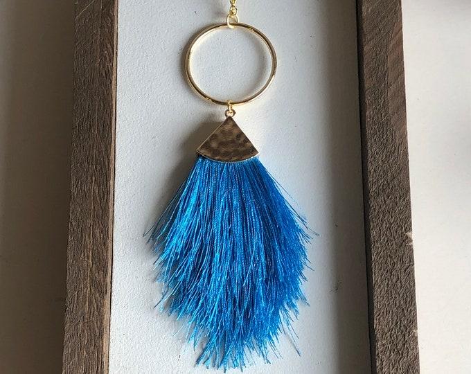 Felicity Fringe Necklace in Blue