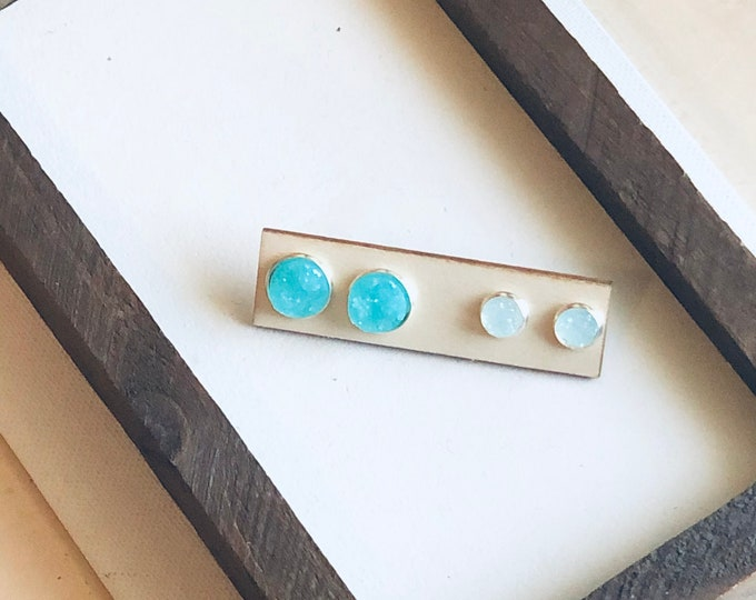 Turquoise Mommy and Me Stud Set