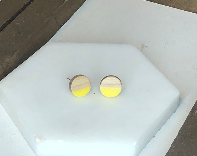Yellow Wood and Resin Studs