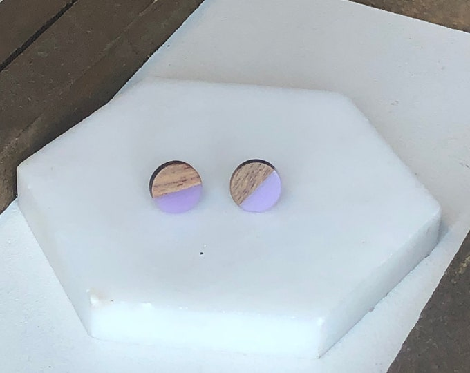Lavender Wood and Resin Studs