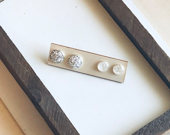 Silver Mommy and Me Stud Set