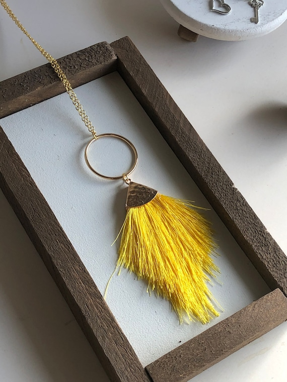 Felicity Fringe Necklace in Canary