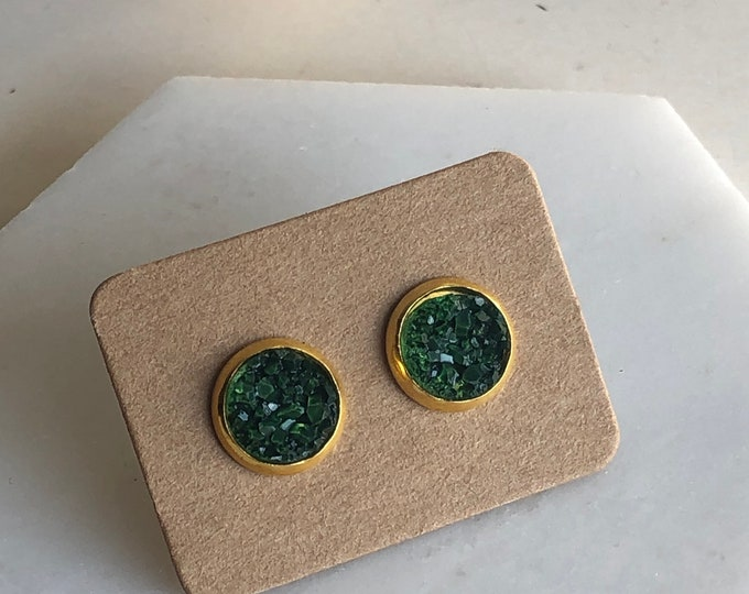 Zola Studs in Forest Green