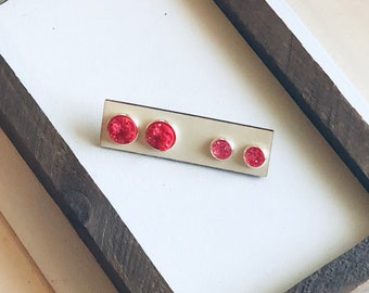 Red Mommy and Me Stud Set