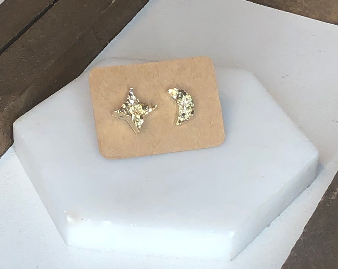 Moon and Back Druzy Studs