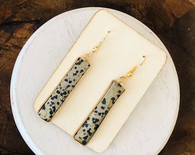 Axel Bar Earrings- Dalmatian Quartz