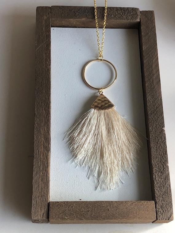 Felicity Fringe Necklace in Cream