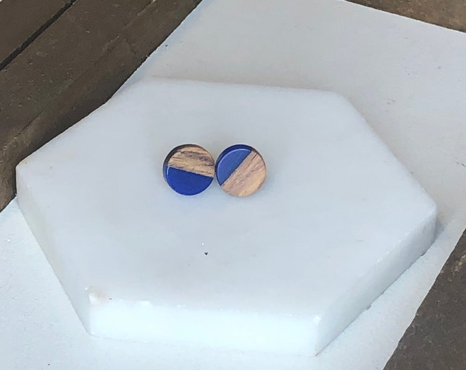 Navy Wood and Resin Studs