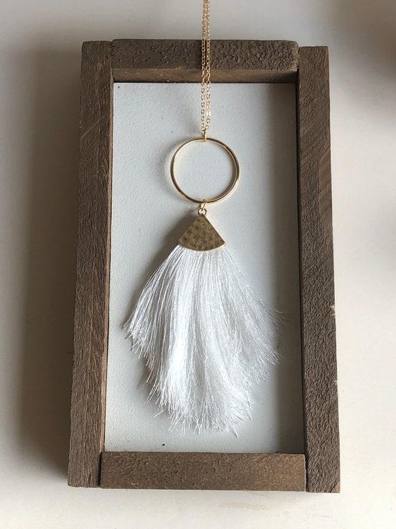 Felicity Fringe Necklace in White