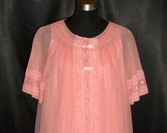 Vintage Orange Chiffon Shadowline Nightgown & Peignoir Set S