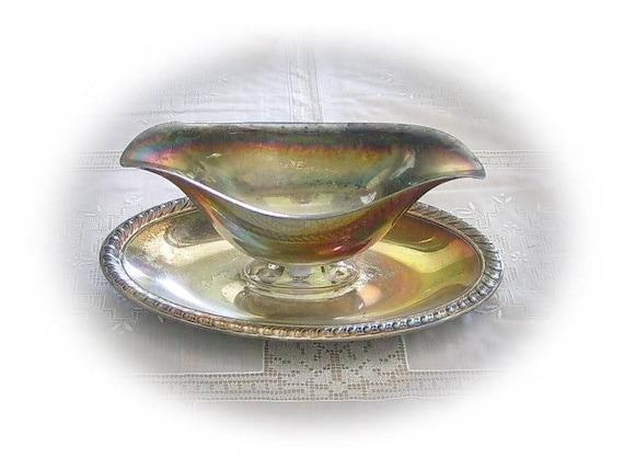 Vintage en métal argenté de service bateau - sauce, Sauce, Condiment, vaisselle, salle à manger, cuisine