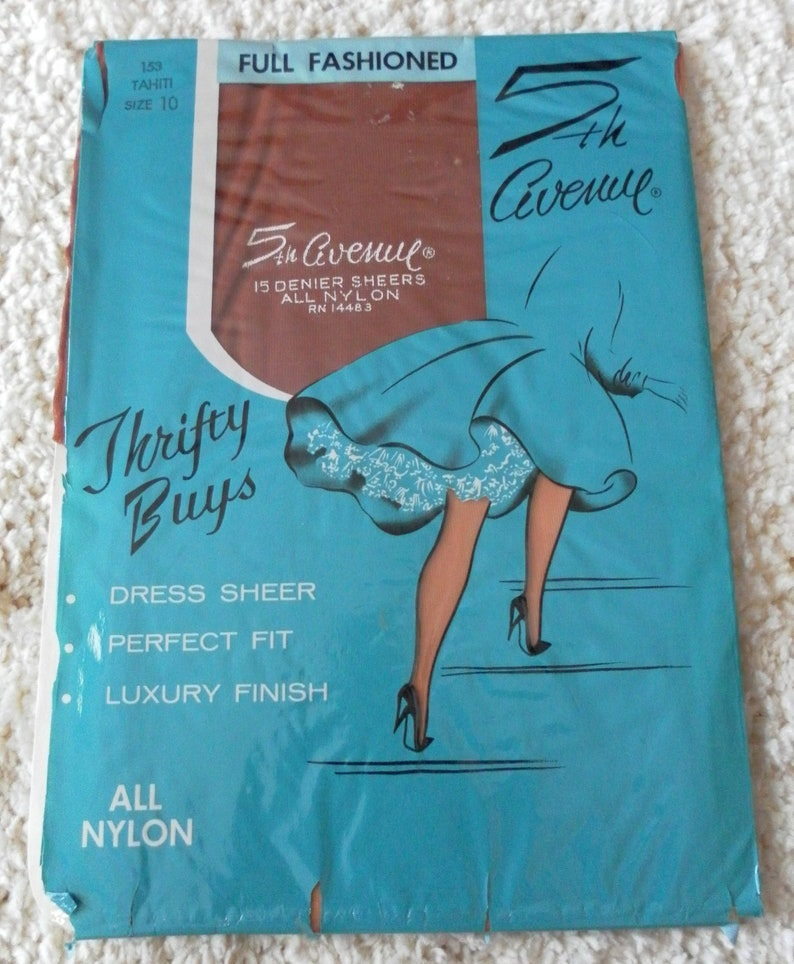 Vintage 5th Avenue Full Fashioned  SEAMED Dress Sheer /& Luxury Finish Garter Stockings Color is Tahiti Size 10