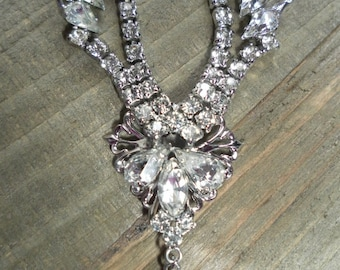 Vintage Elegance - 1960's Signed Marianne Rhinestone Princess / Bridal / Formal Necklace