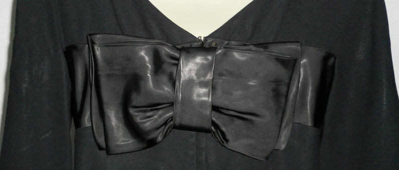 FREE USA SHIPPING!! Vintage 1960/'s Formal Black Bell Sleeve Mini Dress w Satin Accents 34