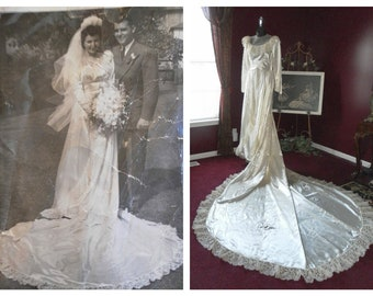 FREE USA SHIPPING - Meet the Bride :) - Vintage 1940's Luxury Satin Bridal Wedding Gown / Dress with Original Photo 34