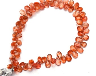 7 Inches Faceted Sunstone 3D Triangle Beads Natural Sunstone Gemstone Briolettes Beads Size 6 MM Top Quality