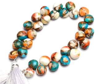 Natural Gemstone Green Arizona Copper Turquoise 8MM Approx Smooth Onion Shape Briolette Beads 7 Inch Strand Super Quality Hand Polished