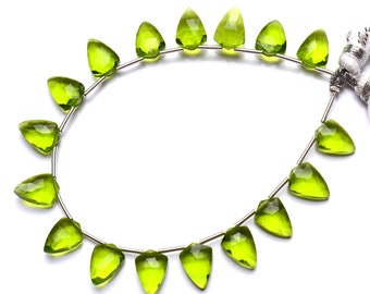 AAA Peridot Gemstone Quartz 5mm-6mm Heart Briolette Beads Peridot Color Hydro Quartz Gemstone Loose Faceted Beads for Jewelry 7 Strand