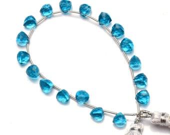 Swiss Blue Topaz Color Hydro Quartz Faceted 20x8MM Size Pear Shape Briolettes Beads 9 Full Strand Deep Sky Blue Color Super Fine Quality