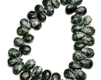 Natural Gem  Seraphinite 12x9MM Approx Size Faceted Pear Shape Briolette Beads 9 Inch Full Strand Dark Green with Silvery Chatoyant Fibers