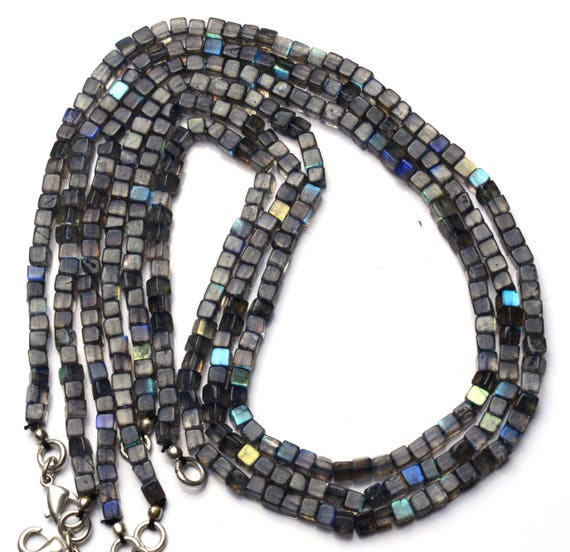 """NATURAL MOONSTONE FLASHING BLUE FIRE FACETED 5.5MM RONDELLE BEADS NECKLACE 19/"""""""