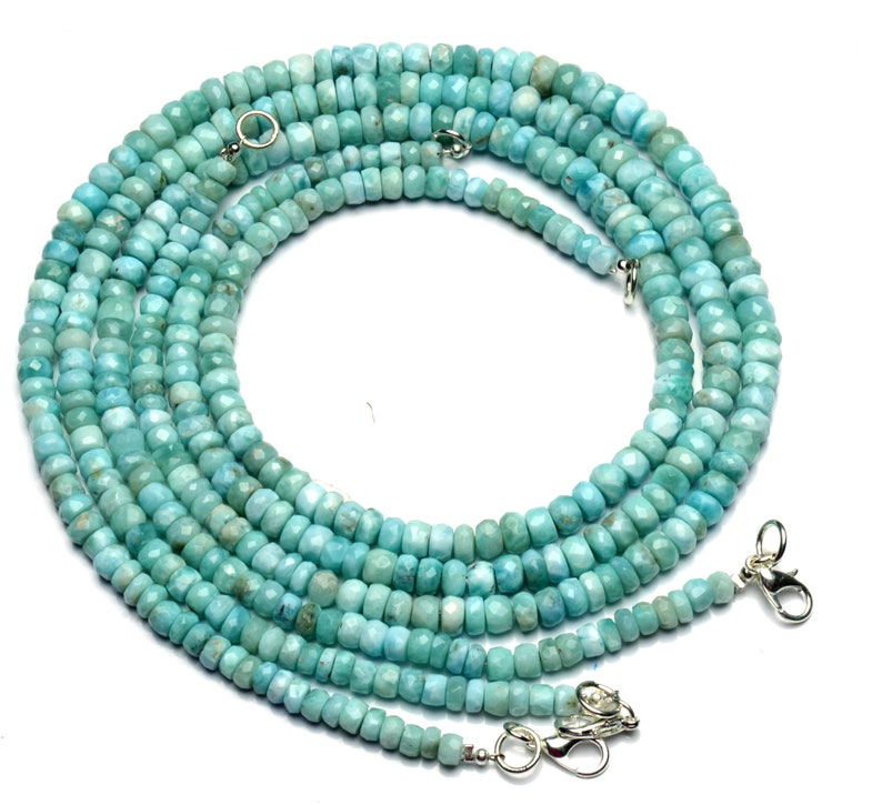 Super Rare Natural Gemstone Larimar 5 to 6.5MM Size Faceted Rondelle Beads Necklace 17.5 Inch Full Strand Super Fine Quality Gem Beads