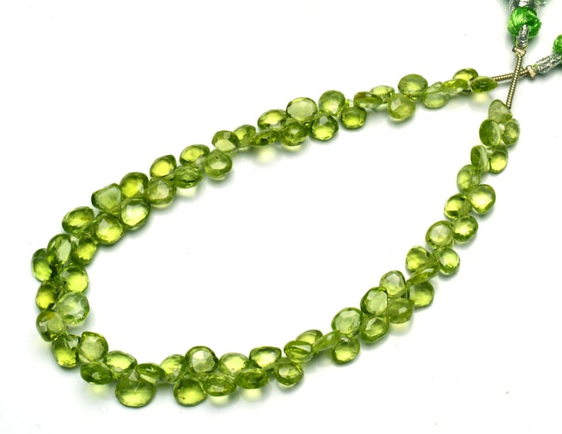 Natural Gemstone Fine Quality Peridot 5 to 7MM Size Faceted Heart Shape Briolettes 8.5 Full Strand Fine Quality Beads Olive Green