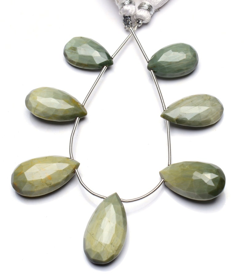 Natural Chrysoberyl Cat/'s Eye Gemstone 17x10 to 21x12MM Faceted Pear Shape Briolette Beads 6 Inch Full Strand Super Quality Cats Eye Effect