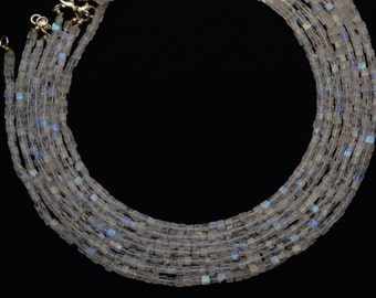 Natural Gemstone Flashing Blue Fire Moonstone Smooth 3D Cube Beads 4MM 16.5 Inch Full Strand Box Shape Beads Finished Necklace