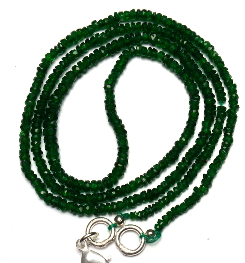 Natural Gemstone Tsavorite Faceted 3 to 4MM Rondelle Beads 18 Inch Full Strand Very Rare Gem Beads Finished Necklace Green Garnet