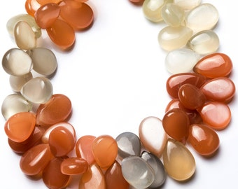 Natural Gemstone Multicolor Moonstone Smooth Pear Shape Briolette 8 Inch Full Strand 8*12 to 9*14MM Approx. Super Quality Hand Polished Bead