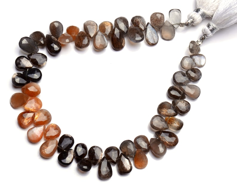 Natural Gem Golden Shine Multi color Moonstone Strong Flash Faceted Pear Shape Briolettes 9 Full Strand 8x6 to 9x7MM Size Super Quality