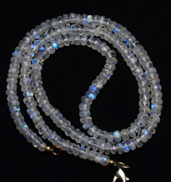 """NATURAL GEM BLUE FIRE WHITE RAINBOW MOONSTONE FACETED 3-4MM RONDELLE BEADS 18/"""""""