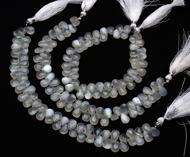 Natural Gemstone White Moonstone Beads 9x7MM Size Pear Shape Moonstone Briolettes for Jewelry Making 8 Inch Full Strand