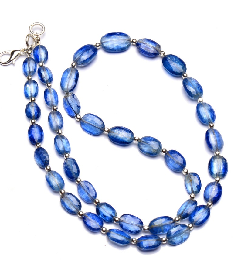 natural gemstone Nepal blue kyanite necklace 18 inch full strand 9x6 to 12x9mm size faceted oval shape nugget beads