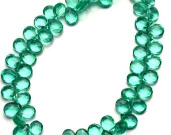 Emerald Color Hydro Quartz Faceted 7x5MM Approx. Pear Shape Briolettes Beads 7.5 Inch Full Strand Super Fine Quality
