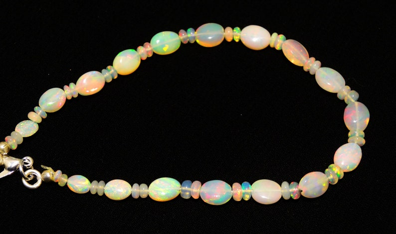Natural Ethiopian Opal Gem Super Quality 5x3 to 8x6MM Size Nugget and 3 to 4MM Rondelle Beads Bracelet 7 Full Strand Rainbow Fire Play