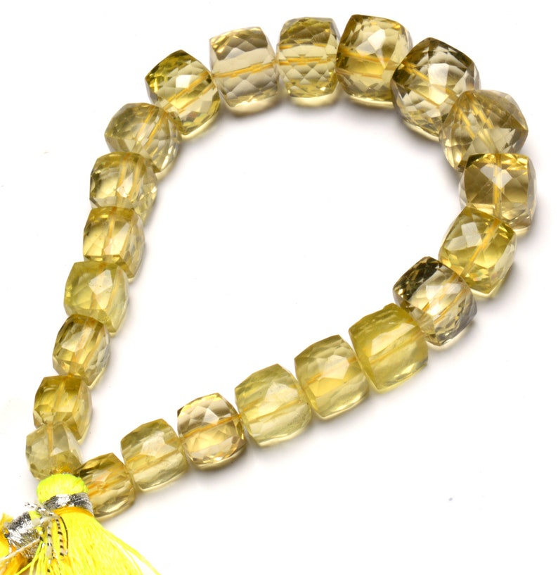 Natural Gem Lemon Quartz Faceted 3D Cube Shape Beads 8 Inch Full Strand 6 to 10MM Approx Size Box Shape Beads Super Quality